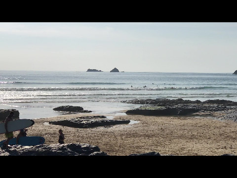 Sunset Surfing on Boobys Beach Cornwall