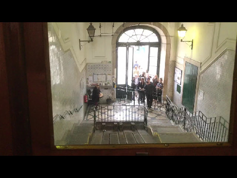 Riding the Bica Funicular in Lisbon