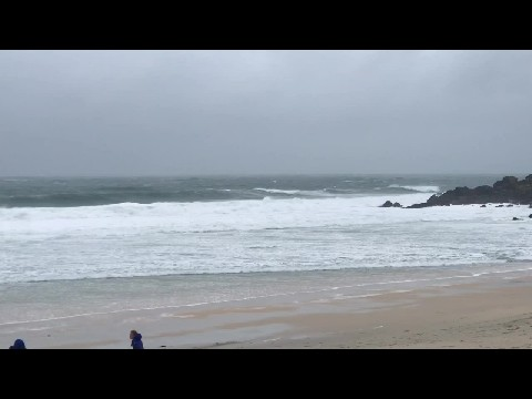 A windy winter's day on Porthmeor Beach in St. Ives.